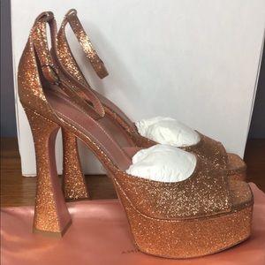 Amina Muaddi Platform Glitter Sandals